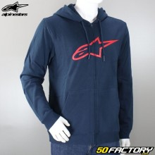 Sweatshirt zip hoodie Alpinestars Ageless II blue and red