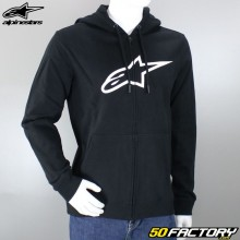 Sweatshirt hoodie zip Alpinestars Ageless II black and white