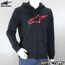 Sweatshirt hoodie zip Alpinestars Ageless II black and red
