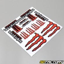 Planche de stickers Monster 30x30cm rouge