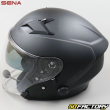 Capacete a jato Sena Outstar intercomunicador bluetooth preto mate