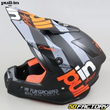 Casque cross Pull-in Trash noir, orange et gris