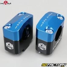 Pontets de guidon 22mm vers 28mm KRM Pro Ride noirs et bleus