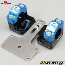 Pontets rigidificateurs de guidon 22mm vers 28mm avec support de compteur KRM Pro Ride noirs et bleus