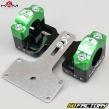 Pontets rigidificateurs de guidon 22mm vers 28mm avec support de compteur KRM Pro Ride noirs et verts