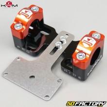 Pontets rigidificateurs de guidon 22mm vers 28mm avec support de compteur KRM Pro Ride noirs et oranges