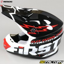 Casque cross First Racing K2 Lightning noir, blanc et rouge