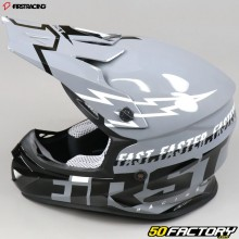 Casque cross First Racing K2 Lightning gris, noir et blanc