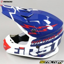 Casque cross First Racing K2 Lightning bleu, blanc et rouge