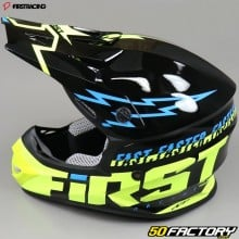 Casque cross First Racing K2 Lightning noir, jaune et bleu