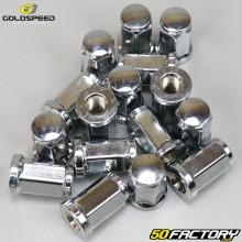 Porcas de roda plana Ø10x1.25mm Goldspeed cromo para quad (conjunto de 16)
