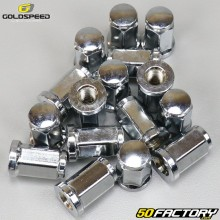 Flat wheel nuts Ø10x1.25mm Goldspeed chrome for quad (set of 16)
