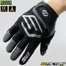Guantes de calle Bud Racing Motocicleta negra y gris aprobada por CE