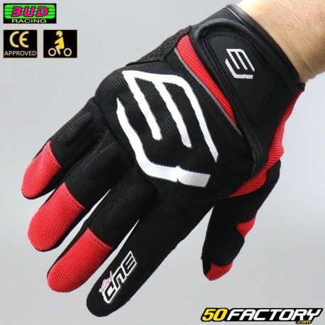 Gants street Bud Racing homologués CE moto noirs et rouges