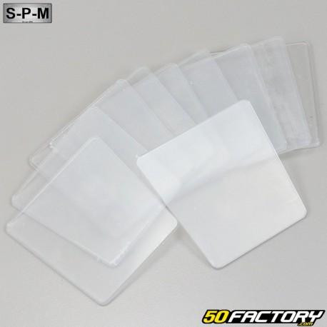 Placas de matrículas trapezoidais SPM transparentes (conjunto de 100)
