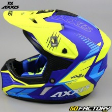 Casco cross Axxis Wolf Star Track amarillo y azul mate