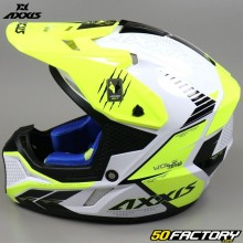 Casco cross Axxis Wolf Star Track blanco y amarillo neón