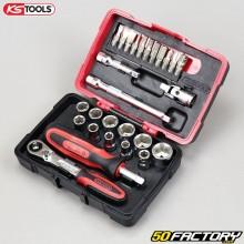 """Sockets e bits 1 / 4 """" KS Tools Ultimate (conjunto de peças 27)"""