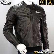 Leather jacket Restone CE approved motorcycle black