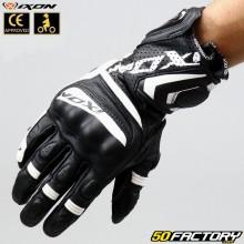 Gants racing Ixon RS Tempo homologués CE moto noirs et blancs