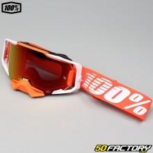 Masque 100% Armega Regal orange et blanc écran iridium rouge