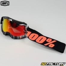 Gafas 100% Accuri 2 Geospace negro y naranja con pantalla iridio rojo