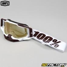 Gafas 100% Racecraft Pantalla de iridio 2 Snowbird blanco y oro marrón