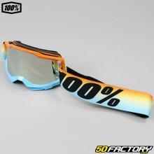 Gafas 100% Accuri 2 Sunset tamaño infantil azul y naranja, lente de iridio plateado