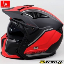 Casque modulable MT Helmets streetfighter Twin noir, rouge mat