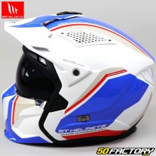 Casque modulable MT Helmets streetfighter Twin bleu, blanc, rouge